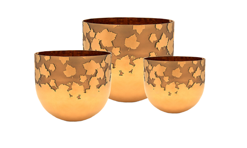 Leaves of Life Etched - Maple Crystal Singing Bowl